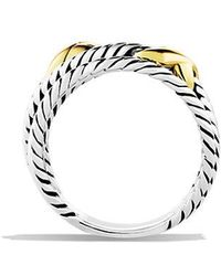 David Yurman - Double X Crossover Ring With 18k Gold - Lyst