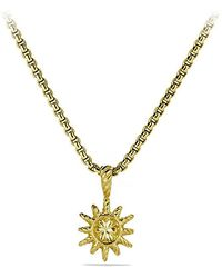 David Yurman - Starburst Mini Pendant Necklace With Diamonds In 18k Gold, 10mm - Lyst