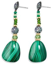 David Yurman - Delta Drop Earring With Malachite, Green/chrome Diopside, Color Change Garnet, Gray Sapphire And 18k Gold - Lyst