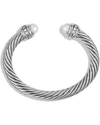 David Yurman - Cable Classics Bracelet With Pearls And Diamonds, 7mm - Lyst