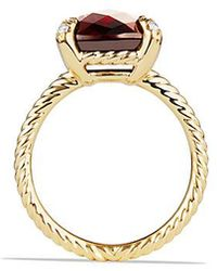 David Yurman - Chatelaine Ring With Garnet And Diamonds In 18k Gold - Lyst
