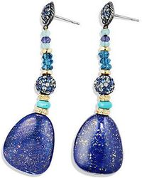 David Yurman - Delta Drop Earring With Lapis Lazuli, Hampton Blue Topaz, Blue And Gray Sapphire And 18k Gold - Lyst