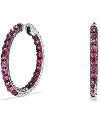 David Yurman - Cable Berries Hoop Earring With Rhodalite Garnet - Lyst