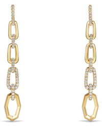 David Yurman - Stax Convertible Chain Link Earrings With Diamonds In 18k Gold - Lyst