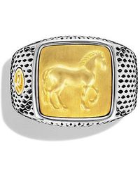 David Yurman - Petrvs Horse Signet Ring With 22k Gold - Lyst