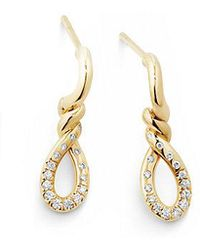 David Yurman - Continuance Small Drop Earrings With Diamonds In 18k Gold - Lyst