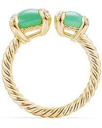 David Yurman - Chatelaine® Bypass Ring With Chrysoprase And Diamonds In 18k Gold - Lyst