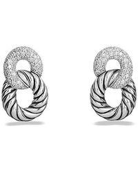david yurman belmont curb link drop earrings with diamonds lyst