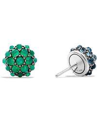 David Yurman - Osetra Stud Earrings With Green Onyx And Hampton Blue Topaz, 10mm - Lyst