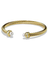 David Yurman - Cable Classic Bracelet With Pearl And Diamonds In 18k Gold, 5mm - Lyst