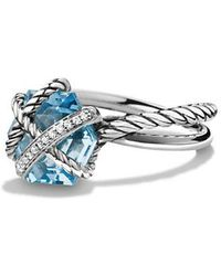David Yurman - Cable Wrap Ring With Blue Topaz And Diamonds - Lyst