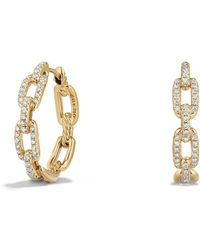 David Yurman - Stax Medium Chain Link Hoop Earrings With Diamonds In 18k Gold - Lyst