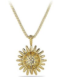 David Yurman - Starburst Medium Pendant Necklace With Diamonds In 18k Gold, 22mm - Lyst