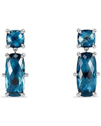 David Yurman - Châtelaine Double Drop Earrings With Hampton Blue Topaz And Diamonds - Lyst