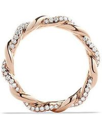 David Yurman | Dy Wisteria Twist Ring With Diamonds In 18k Rose Gold, 4mm | Lyst