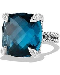 David Yurman - Chatelaine Ring With Hampton Blue Topaz And Diamonds, 20mm - Lyst
