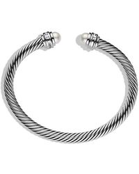 David Yurman - Cable Classics® Bracelet With Pearls And Diamonds, 5mm - Lyst