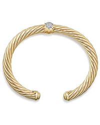 David Yurman - Cable Classics Bracelet With Diamonds In 18k Gold, 7mm - Lyst