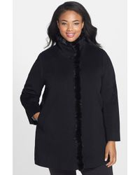 Fleurette Mink-Trim Wool Coat - Lyst