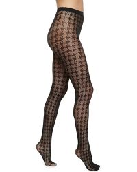 Wolford Pascale Houndstoothcheck Net Tights - Lyst