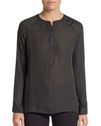 Vince Dotted Silk Raglan Blouse - Lyst