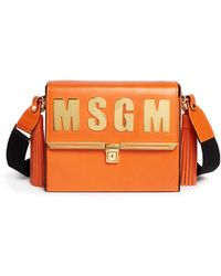 MSGM Structured Leather Satchel orange - Lyst