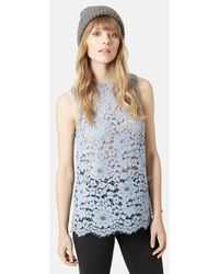 Topshop Sleeveless Lace Top - Lyst