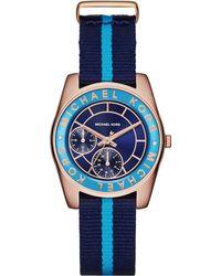 Michael Kors Ryland Two-Tone Stainless Steel Bracelet Watch blue - Lyst