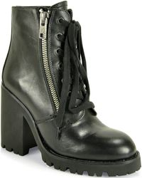 Ash Poker Leather Heeled Bootie - Lyst