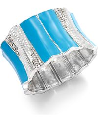 Inc International Concepts Silver-Tone Turquoise Enamel And Crystal Wide Stretch Bracelet - Lyst