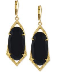 Vince Camuto - Gold-tone Crackle Stone Drop Earrings - Lyst