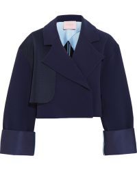 Roksanda Exley Mesh-Trimmed Stretch-Crepe Jacket - Lyst