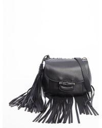 Gucci Black Leather Nouveau Fringe Shoulder Bag - Lyst