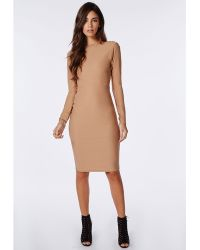 Missguided Open Back Zip Detail Midi Dress Camel - Lyst