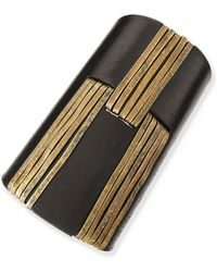 Donna Karan - Handforged Cuff with Leather Black - Lyst