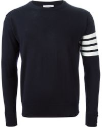 Thom Browne Striped Sleeve Sweater - Lyst