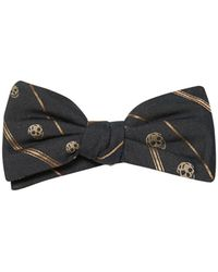 Alexander McQueen Skull And Stripe-Jacquard Bow Tie - Lyst
