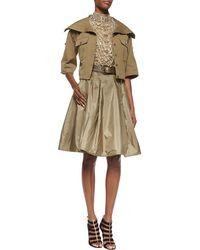 Ralph Lauren Collection Taffeta Full Silk Skirt green - Lyst
