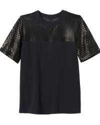 Rebecca Taylor Perforated Leather Top - Lyst