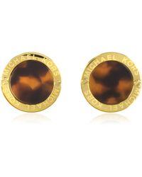 Michael Kors - Heritage Logo Tortoise Acetate Gold-tone Stud Earrings - Lyst