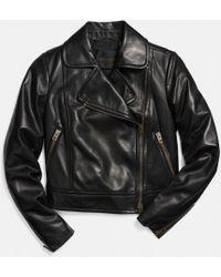 Coach Leather Moto Jacket - Lyst
