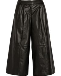 Tibi Pleated Leather Culottes - Lyst