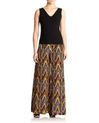 M Missoni Zigzag-Print Silk Wide-Leg Pants - Lyst