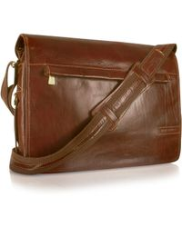 Chiarugi - Handmade Brown Genuine Leather Messenger Bag - Lyst