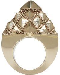 Ktz Silver Pyramid Facet Ring - Lyst