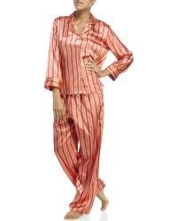 Jones New York - Two-Piece Stripe Satin Pajama Set - Lyst