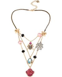 Betsey Johnson Rose and Spider Web Illusion Necklace - Lyst