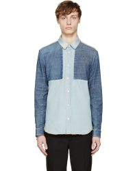 Maison Margiela Blue Patchwork Denim Shirt - Lyst