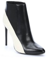 Rachel Zoe Black and White Leather with Snakeskin Gael Booties - Lyst