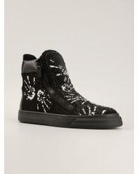Giuseppe Zanotti Hand Print Hi-top Sneakers - Lyst